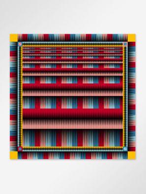 Scarf stripe red 128x128cm