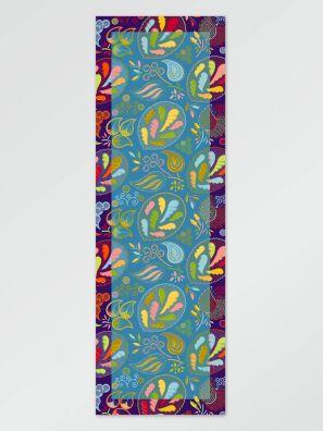 Scarf flower lt blue 65x198cm