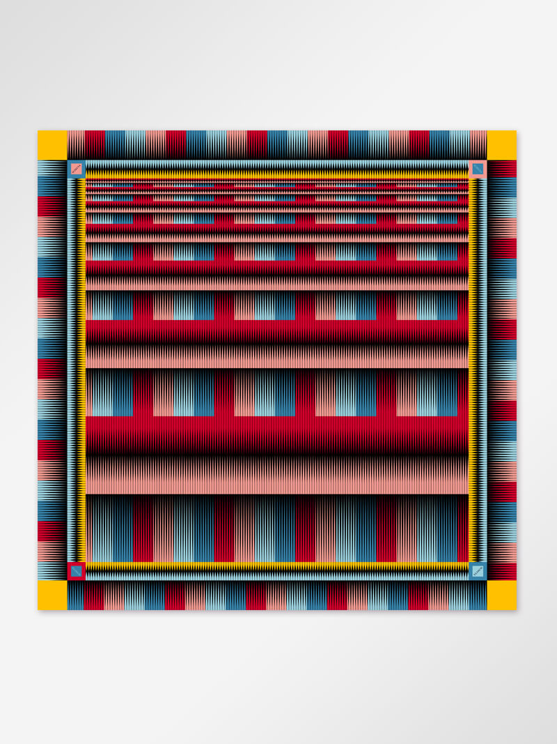 Image of Scarf stripe red 128x128cm