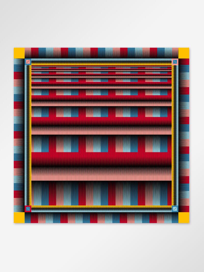 Bilde av Scarf stripe red 128x128cm