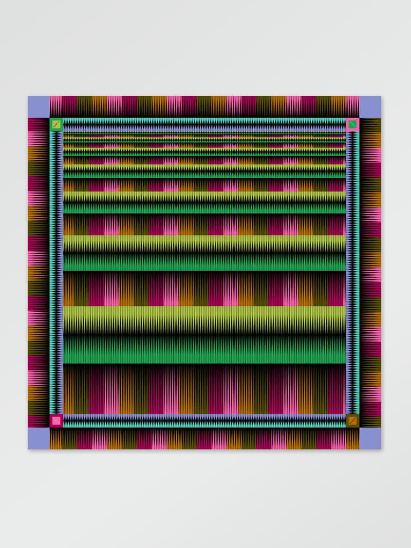Image of Scarf stripe green128x128cm